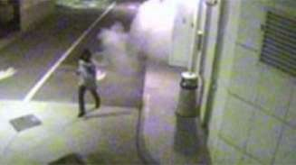 CCTV still of man running from security fog